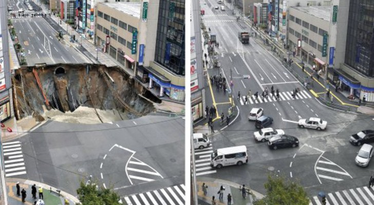 A eficiência dos japoneses: o gigantesco abismo reparado em somente dois dias!
