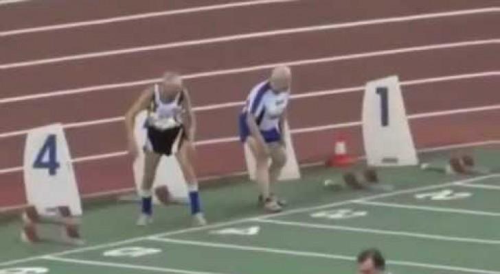 Le sprint de deux jeunes hommes de ... 90 ans