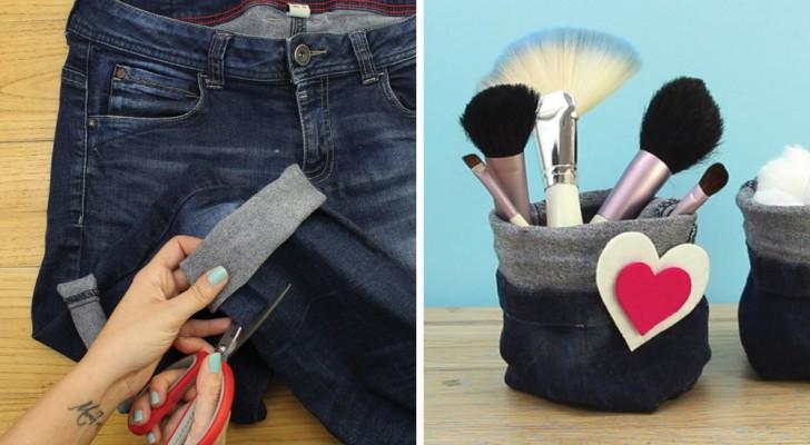 Wie man alte Jeans wiederverwertet, um praktische und vielseitige Säckchen zu erschaffen