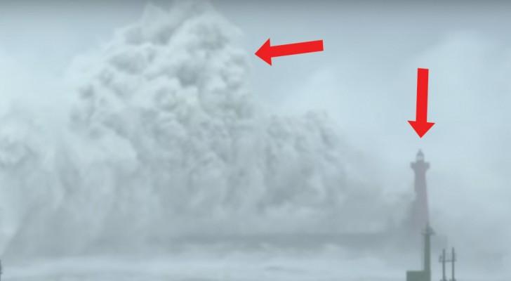 Der Taifun fegt über den Leuchtturm hinweg: hier die größten Wellen, die ich je gesehen habe!