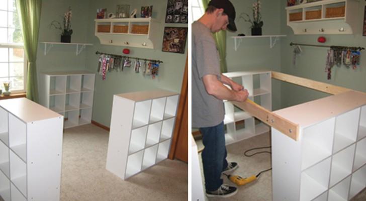 Hij verenigt 3 boekenkasten om een fantastisch meubel te maken voor zijn vrouw!