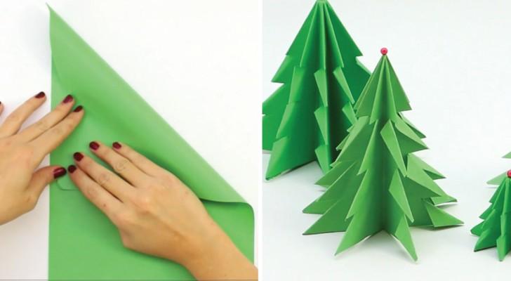 Como criar uma linda árvore de Natal usando somente um papel