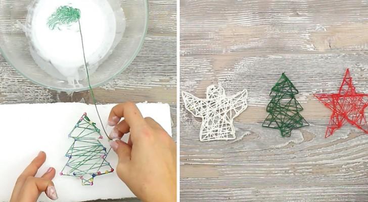 selbstgemachte weihnachtsdeko aus schnur und klebstoff. Black Bedroom Furniture Sets. Home Design Ideas
