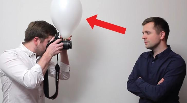 Il met un ballon devant le flash de l'appareil: la différence est incroyable!