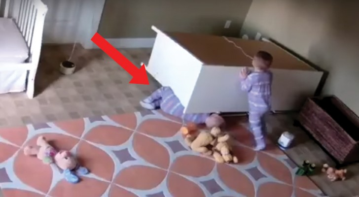 A two-year-old boy rescues his twin brother!