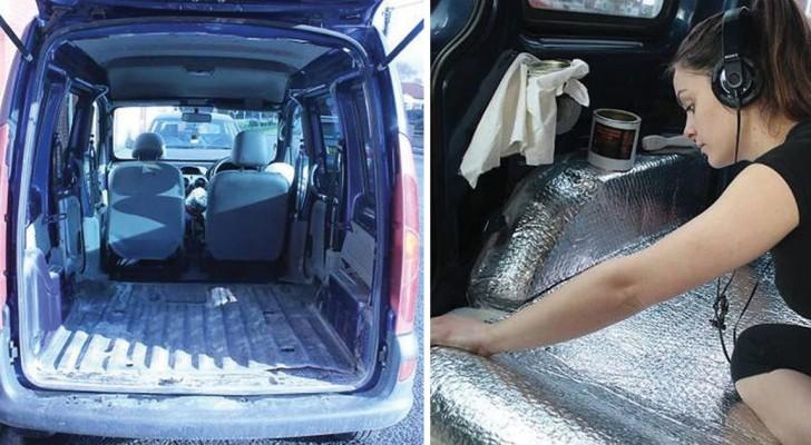 Viaggiare in totale libertà: una ragazza trasforma un furgoncino in una STUPENDA casa mobile