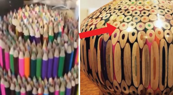 Hij plaatst een stapel kleurpotloden op een werkbank: wat hij hiermee creëert ziet er spectaculair uit!