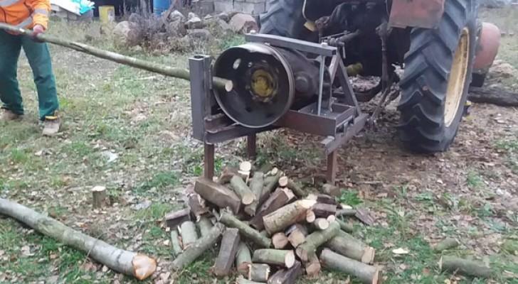 Esta máquina que corta a madeira é artesenal, mas funciona!