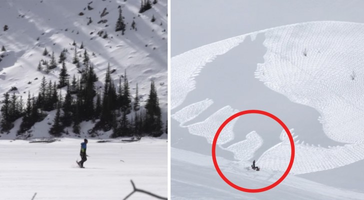 See how this man draws images on the snow! Astonishing!