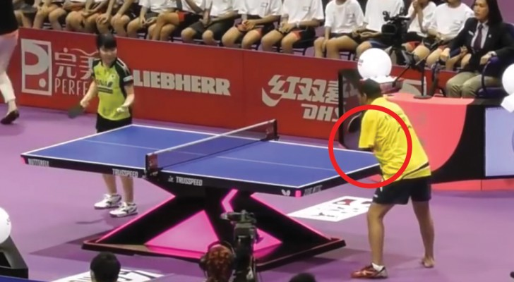 One ping-pong match and two players with a total of two hands?!  What?