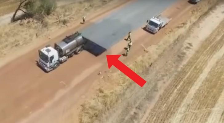 Asi es como son asfaltadas las carreteras en la exterminada Australia