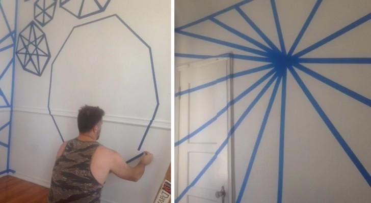Ze bedekken de muren met een wirwar van tape en gaan er vervolgens met de verfroller overheen: als de tape wordt verwijderd, is het effect verbazingwekkend!