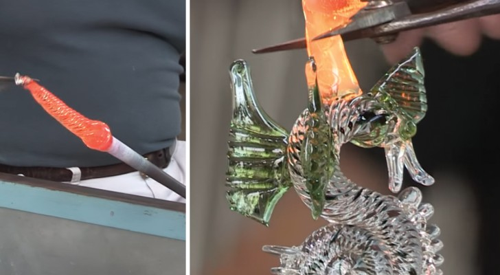Watch this Venetian glass dragon goblet appear before your eyes ...