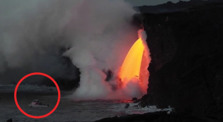 Nature turns on the fireworks as volcano lava pours into the sea!