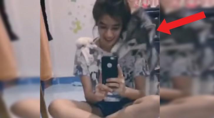 Zijn baasje vertelt dat ze een selfie gaat maken: wat de hond vervolgens doet, is ongelooflijk!