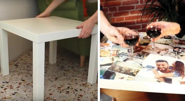 Lijm en foto's: zo kan je het IKEA bijzettafeltje veranderen in enkele stappen