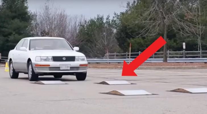 Die futuristischen elektromagnetischen Stoßdämpfer: seht was passiert, wenn das Auto eine Straßenschwelle passiert
