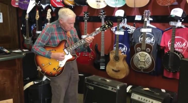 Um guitarrista de 80 anos entra em uma loja de música: o que ele faz surpreende a todos!