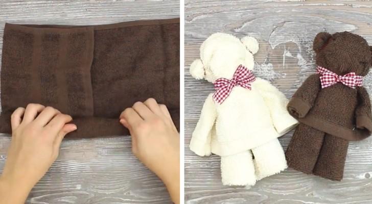 Questi orsetti creati con gli asciugamani daranno un tocco di dolcezza al vostro bagno