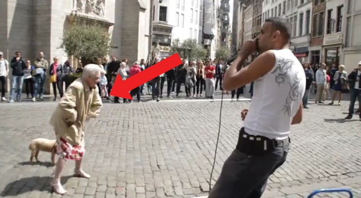 A beatbox street artist in Brussels inspires an elderly lady!