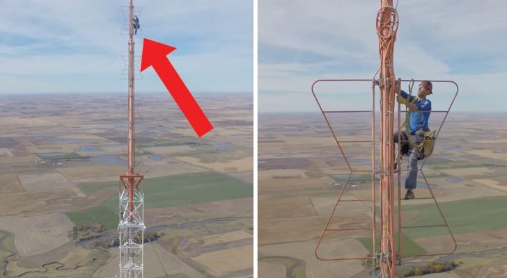 Escalar a mano torres altas CENTENARES de metros: este trabajo los hara lamentar menos el vuestro!