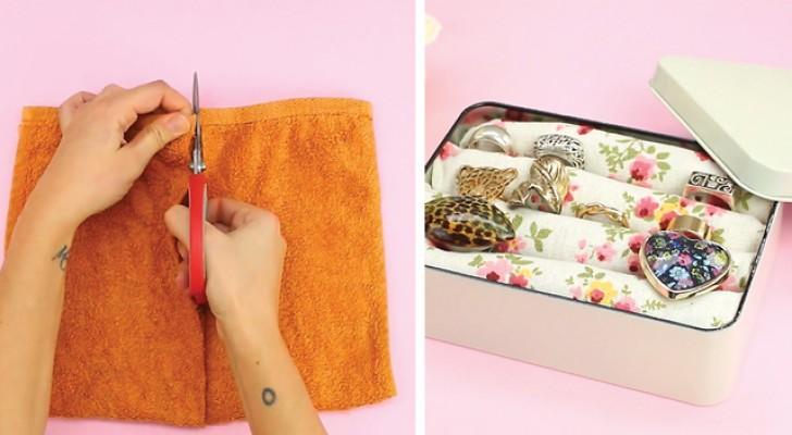 Sie schneidet alte Handtücher und benutzt sie, um ein Do-it-yourself Schmuckkästchen zu basteln