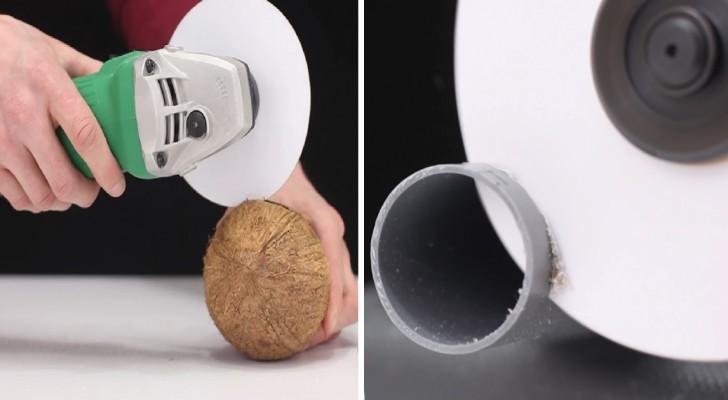 Il monte un disque de papier sur la disqueuse et montre COMBIEN ce matériau commun est tranchant