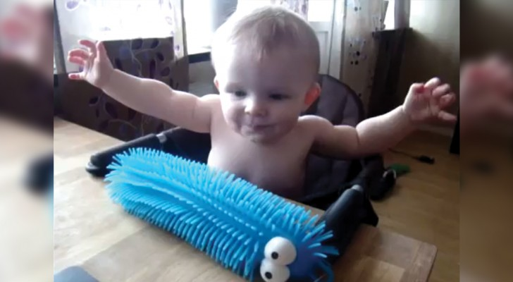 Dão para ele um brinquedo de borracha: veja a reação do pequeno quando o toca!