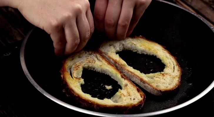 Fura duas fatias de pão e coloca na panela: cria uma receita especial!