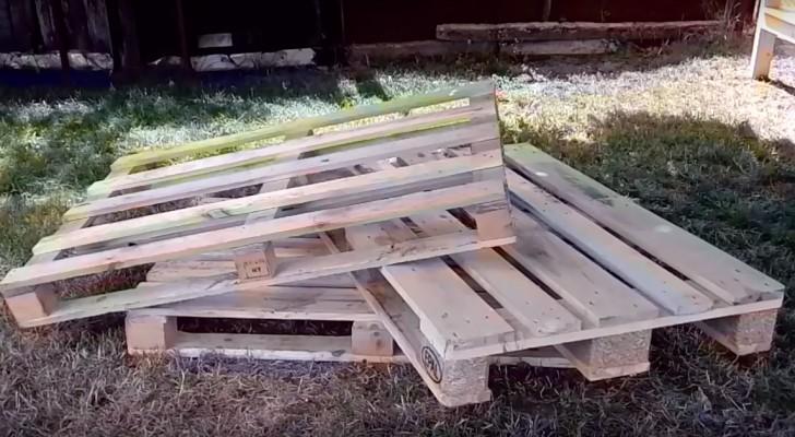Asi es como se puede crear paso a paso un divan de madera con 3 pallet