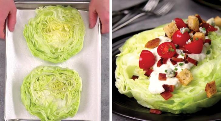 Salada iceberg em fatias com sabor de queijo: uma versão que você vai querer provar!