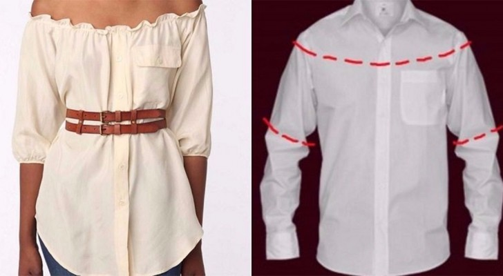 Discover how to convert a man's shirt into a trendy dress!