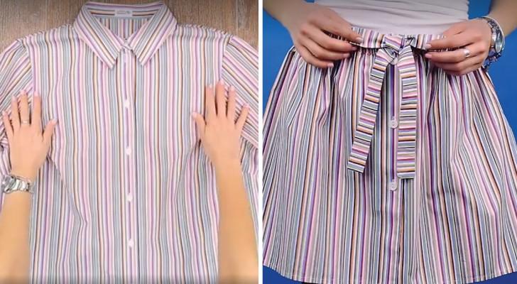 Transformar una vieja camisa en una original pollera es mas facil de cuanto piensas