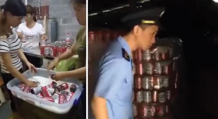 Deze Chinese fabriek produceert namaak blikjes bier van een bekend merk... en wordt betrapt!