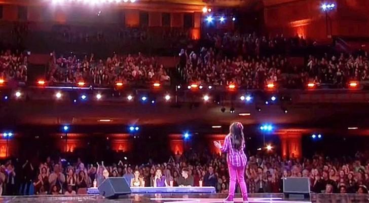 Sie sagt, dass sie wie Whitney Houston singen kann: nach nur wenigen Sekunden ist das Publikum sprachlos