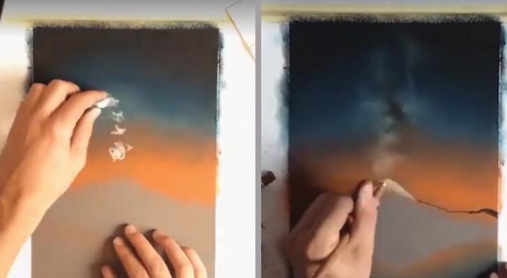 Disegna un vulcano unendo diverse tecniche: l'effetto finale è tutto da scoprire
