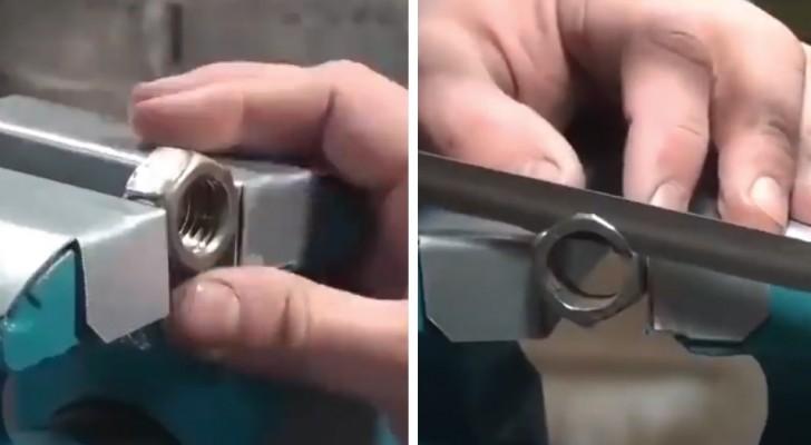 Il transforme un écrou métallique en une bague: l'œuvre finale est d'un niveau élevé