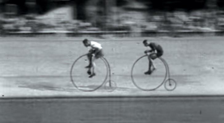 Disfruten la carrera de estos atletas de los primeros del '900 en sillas de montar altisimas a pedales