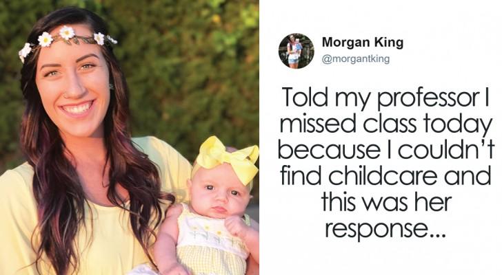 Une maman célibataire manque un test à l'université, la réponse de sa prof fait le tour du web