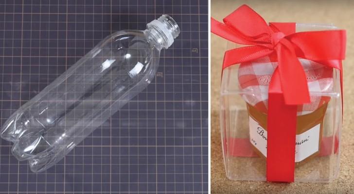 Como crear una confeccion de regalo transparente reciclando una botella de plastica