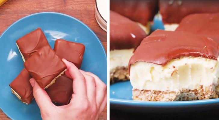 Minicheese cake al chocolate: la receta de la version que se come con un mordizco
