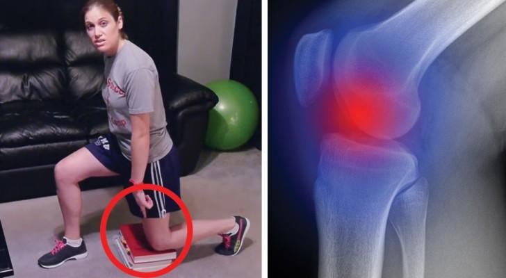 Poggia dei libri a terra e ci mostra 3 esercizi per alleviare il dolore alle ginocchia