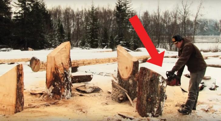 Comienza cortando los troncos con una motosierra...el resultado es un banco UNICO en su genero!
