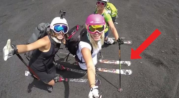 3 mulheres italianas descem o Etna em esquis: mesmo sem neve a descida é emocionante