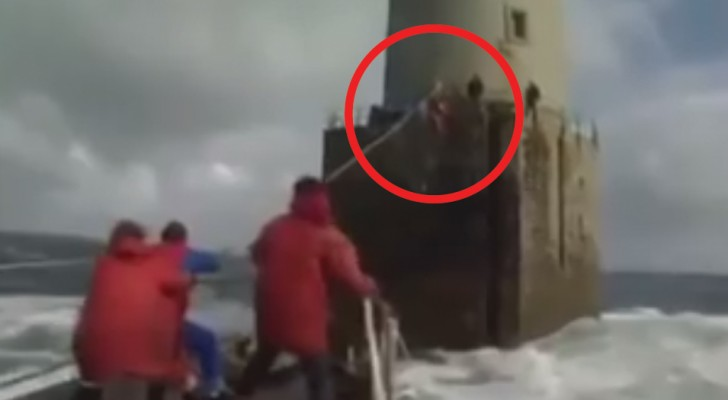 French lighthouse guards changing shifts; what these men have to do we would not wish on anyone!