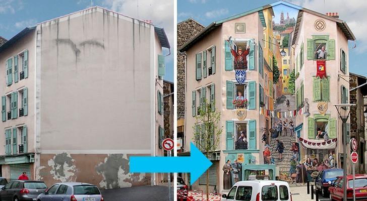 Este artista transforma las anonimas fachadas de los edificios en brillantes frescos llenos de vida