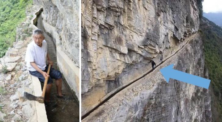Impiega 36 anni per scavare un canale nella montagna: il progetto di quest'uomo ha emozionato il mondo