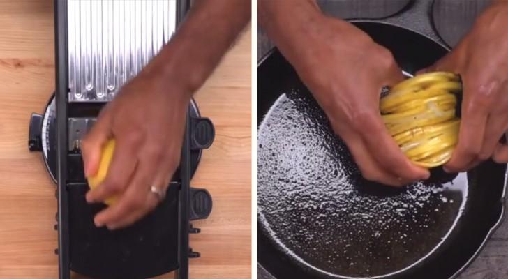 Cortar a fetas las papas y las pone en circulo en el molde: el resultado es un plato sabrosisimo