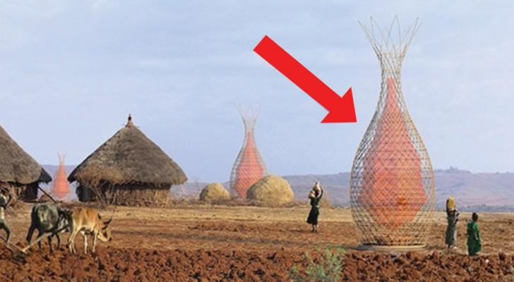 Esta torre ideada por un italiano recoje 100 litros de agua al dia y saciara la sed a las poblaciones africanas
