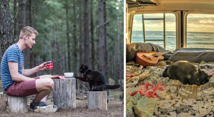 Il a tout plaqué pour voyager avec son chat dans une caravane: les photos font rêver